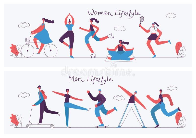 健康生活方式概念平的设计  皇族释放例证