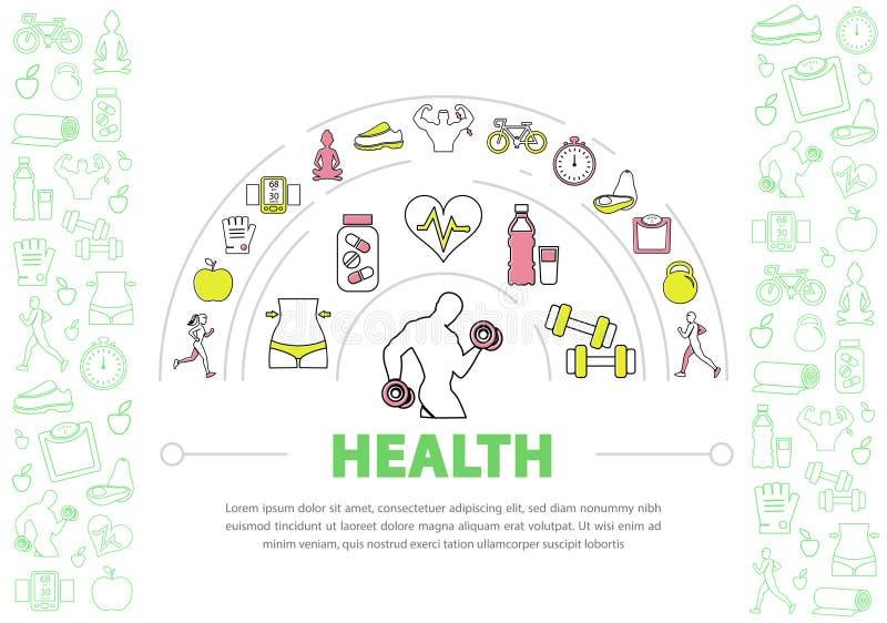 健康生活方式模板 皇族释放例证