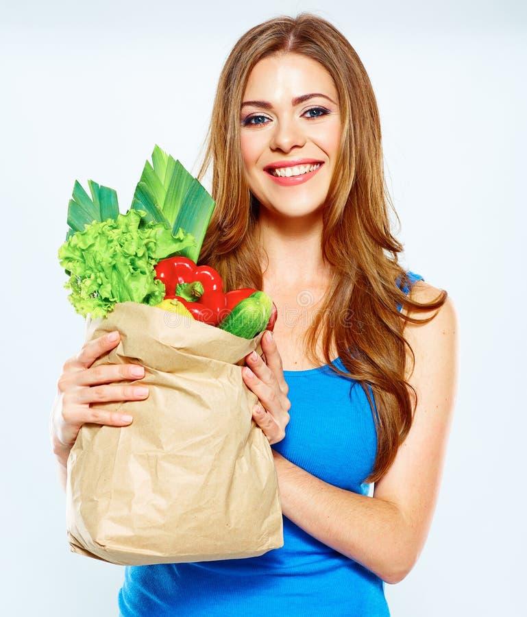 健康生活方式用绿色素食主义者食物 少妇绿色饮食 免版税库存图片