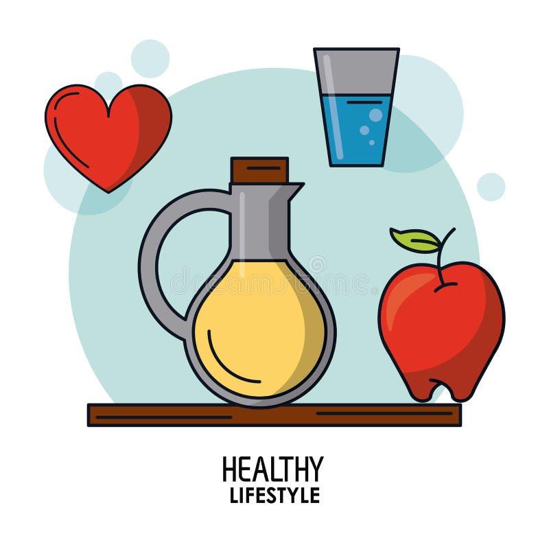 健康生活方式白色背景海报与植物油瓶的和杯水和苹果和心脏 皇族释放例证