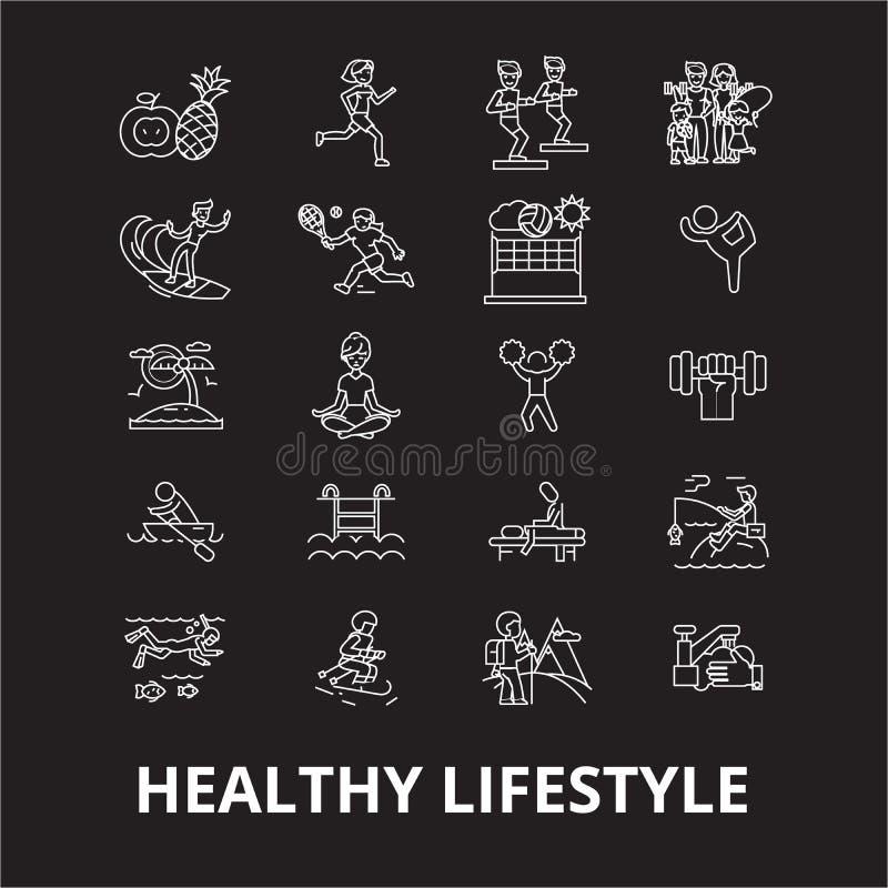 健康生活方式编辑可能的线象导航在黑背景的集合 健康生活方式白色概述例证 库存例证