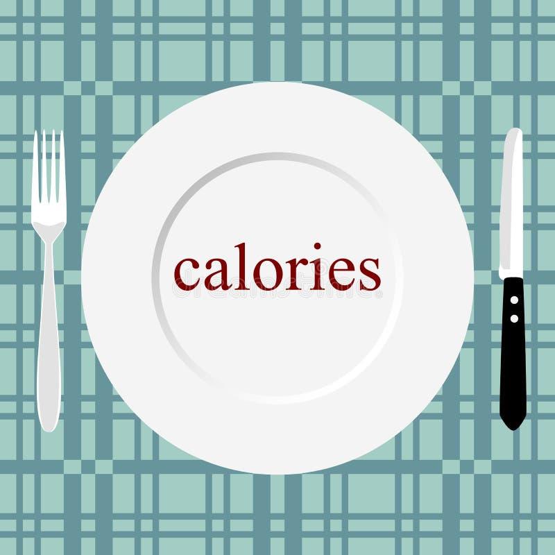 健康生活方式 卡路里 刀叉餐具 皇族释放例证