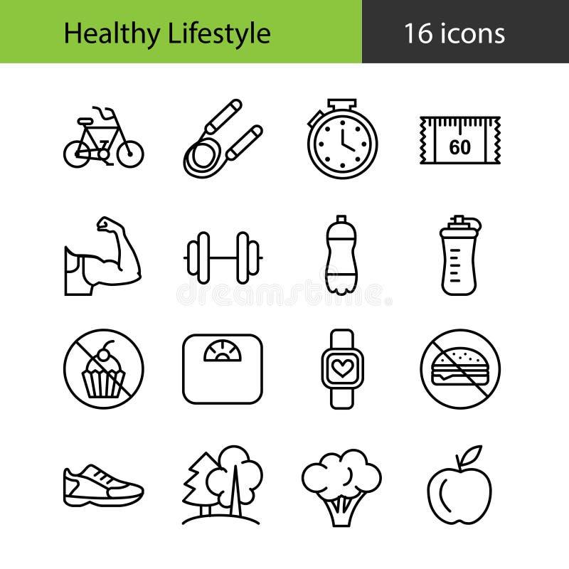 健康生活方式 图标设置了 皇族释放例证