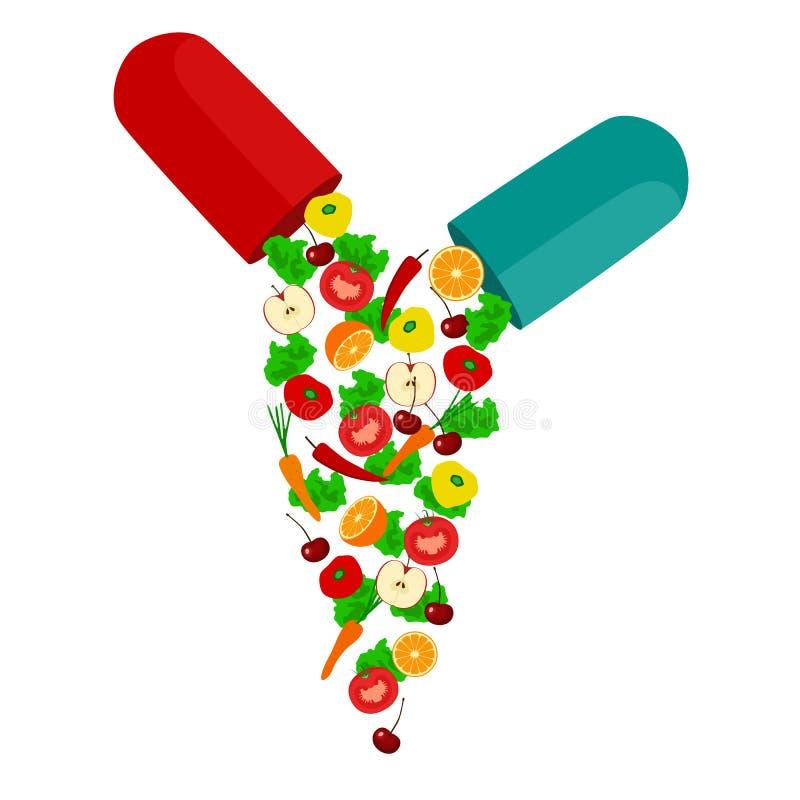 健康生活方式 维生素 向量例证