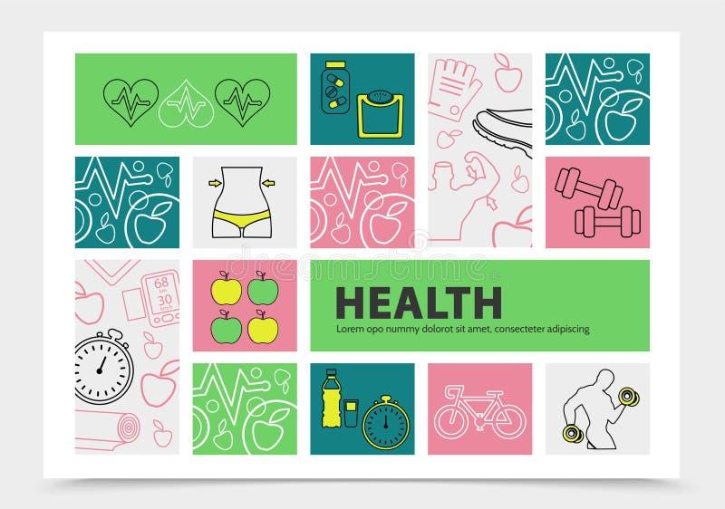 健康生活方式Infographic概念 库存例证