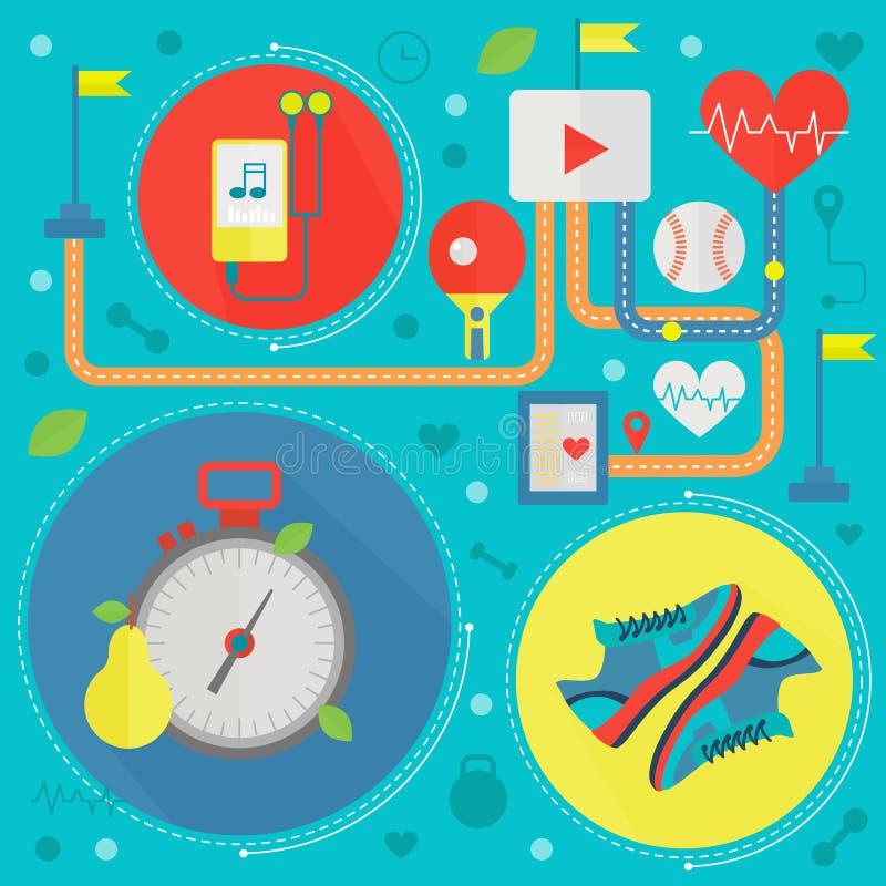 健康生活平的概念传染媒介例证 炫耀,健身健身房,并且健康食物icos设计,网元素,海报 库存例证