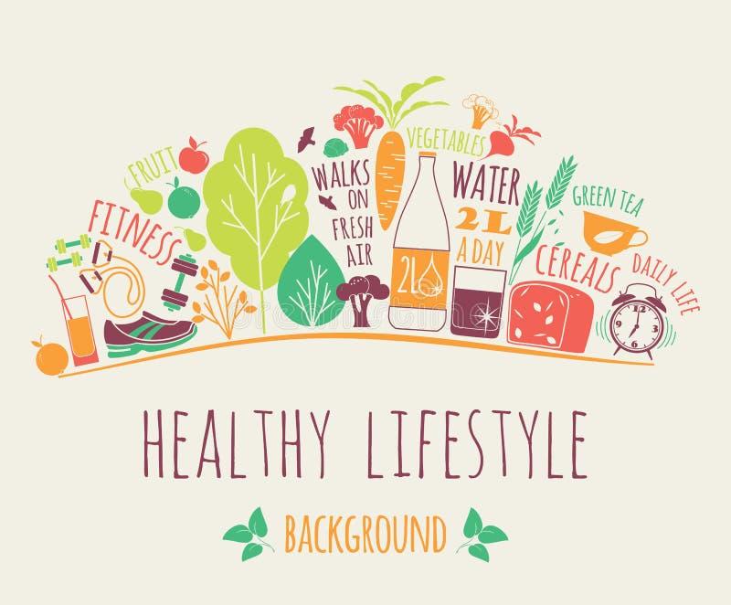 健康生活方式传染媒介例证 库存例证