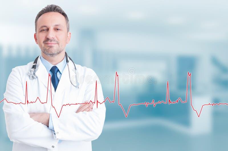 健康生活方式和医疗概念与确信的年轻cardi 免版税库存图片