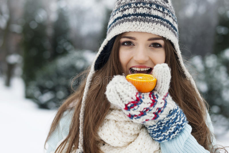 健康生活方式在冬天 库存图片