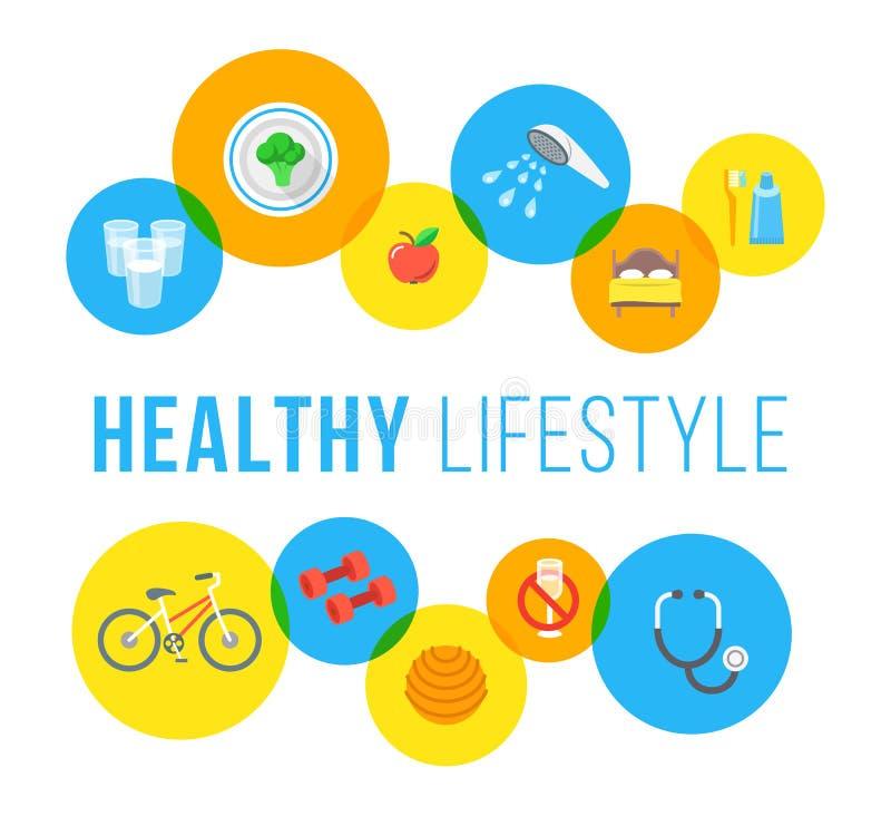 健康生活方式平的传染媒介概念 向量例证