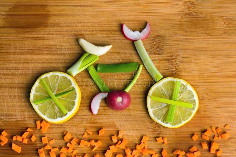 健康生活方式概念-菜自行车 库存图片
