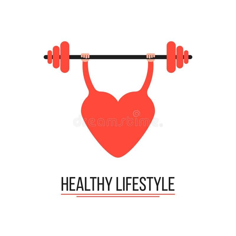 健康生活方式的概念与训练心脏的 库存例证