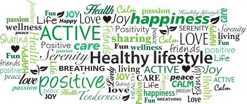 健康生活方式词云彩拼贴画传染媒介 库存例证