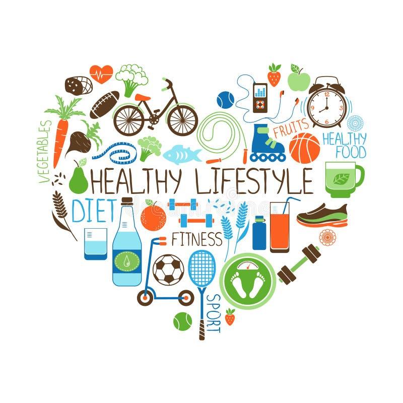 健康生活方式饮食和健身心脏标志 皇族释放例证