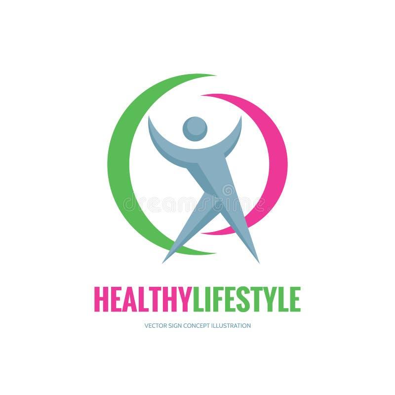 健康生活方式-导航商标模板概念例证 人的字符标志 人图标 健身体育权威 向量例证