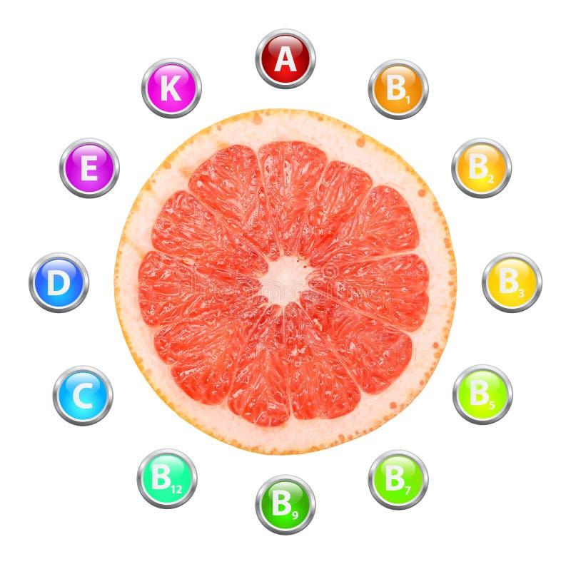 健康生活葡萄柚维生素 皇族释放例证