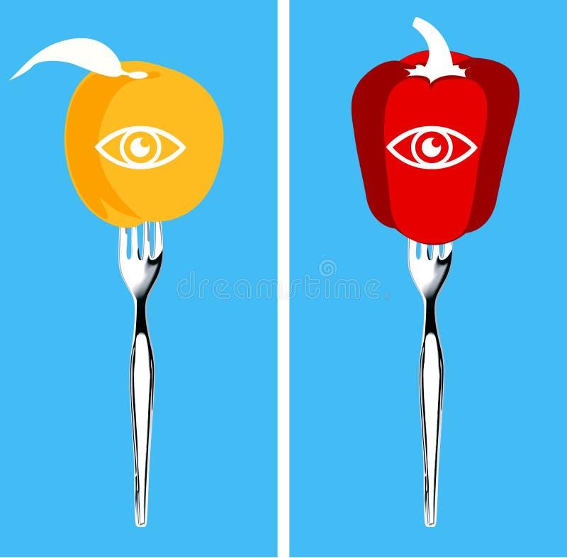 健康眼睛的食物 库存例证
