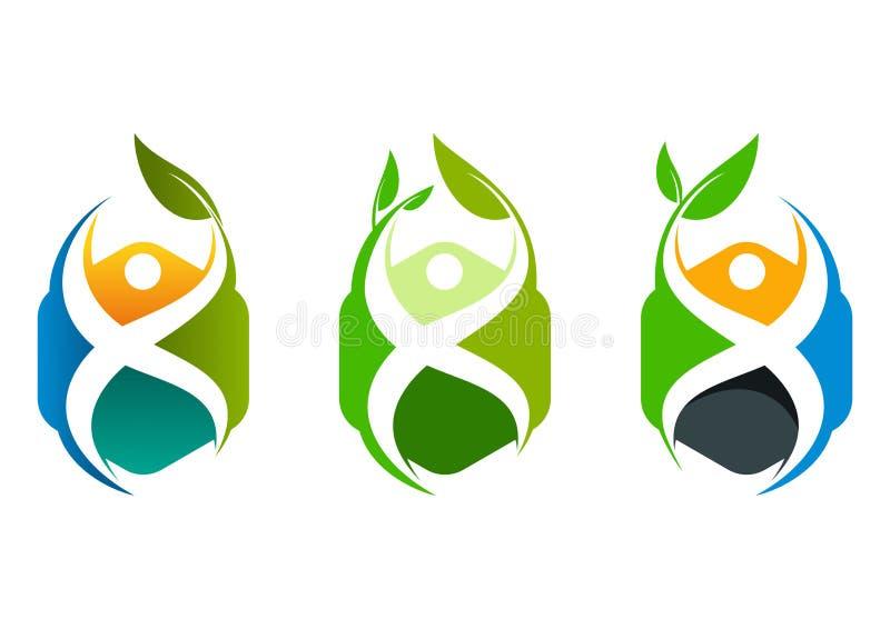 健康立方体商标,健康中心构思设计 向量例证