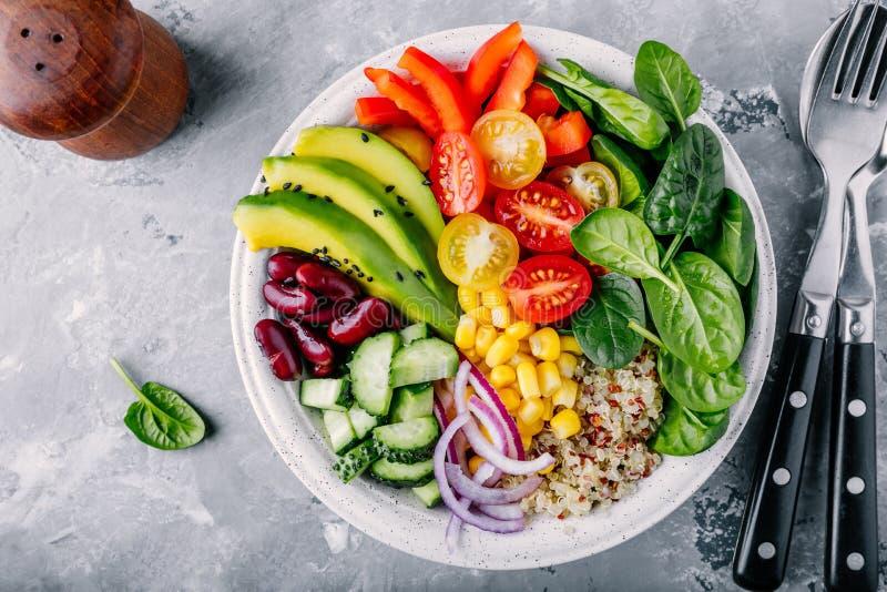 健康素食主义者午餐菩萨碗 鲕梨、奎奴亚藜、蕃茄、黄瓜、红豆、菠菜、红洋葱和红色辣椒粉菜沙拉 库存图片