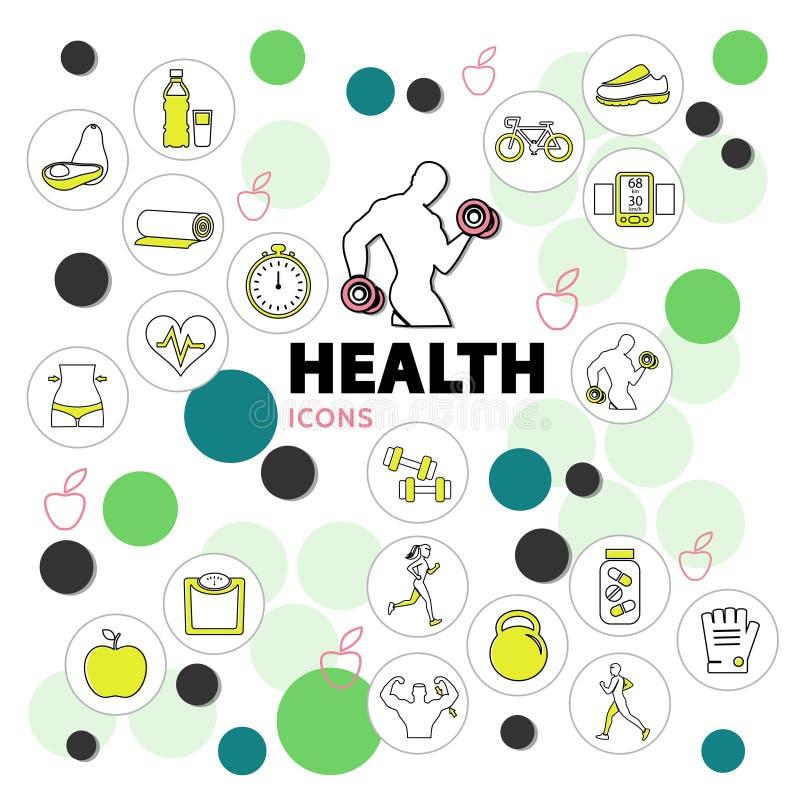 健康线被设置的象 库存例证