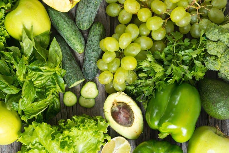 健康绿色蔬菜和水果 库存图片