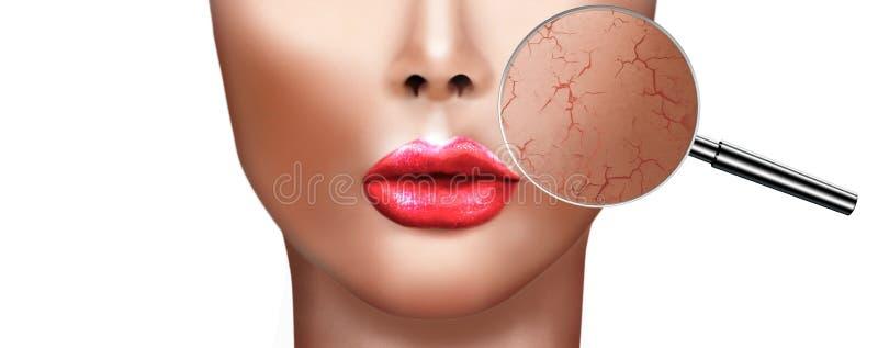 健康美丽的女孩数字式绘画有皮肤损伤放大镜的  向量例证