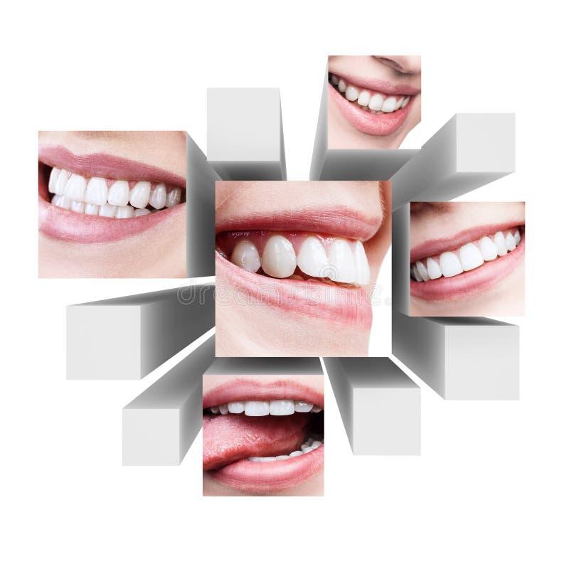 健康美好的微笑拼贴画在3d立方体的 库存照片
