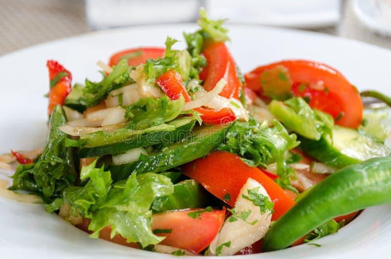健康自然食物,与菜的新鲜的沙拉在板材 库存图片