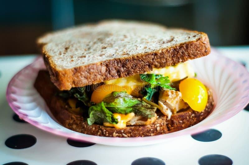 健康菜的三明治的关闭新鲜和 免版税库存图片