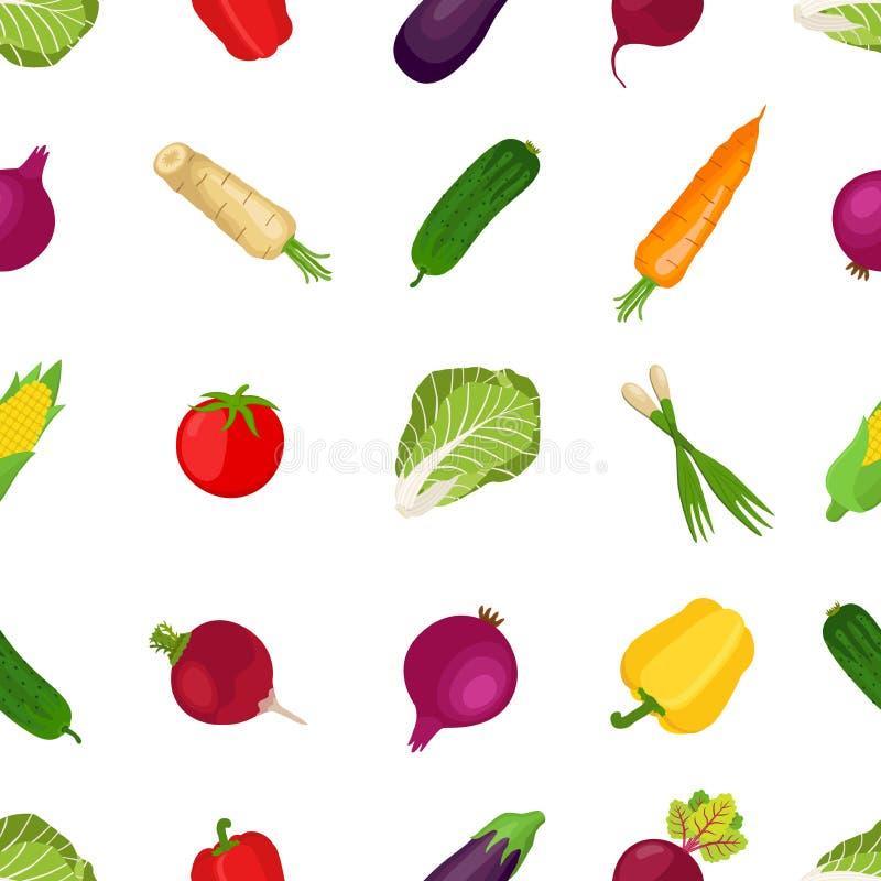 健康菜的无缝的样式,农产品 动画片fl 皇族释放例证