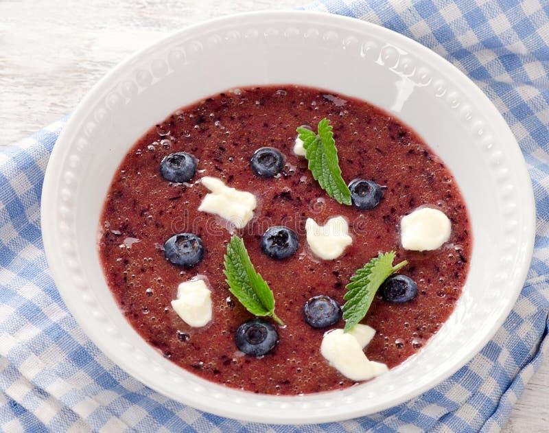 健康蓝莓汤 免版税库存图片