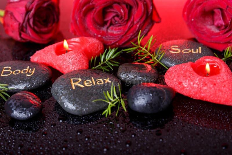 健康装饰,温泉概念在Valentine& x27; s天 免版税库存图片