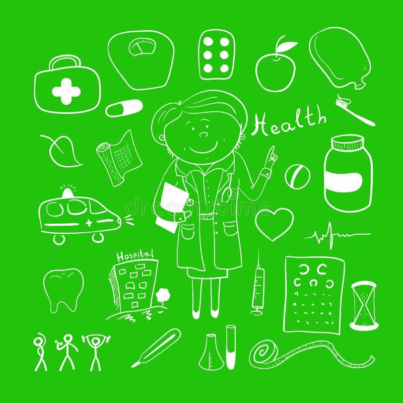 健康象,乱画ilustration,妇女医生 向量例证