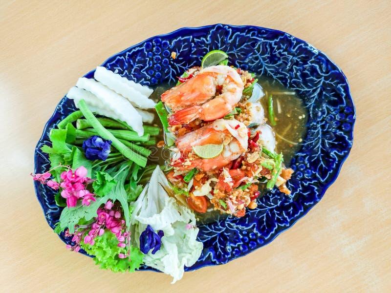 健康越南沙拉劳斯用虾在Finedining餐馆 库存图片