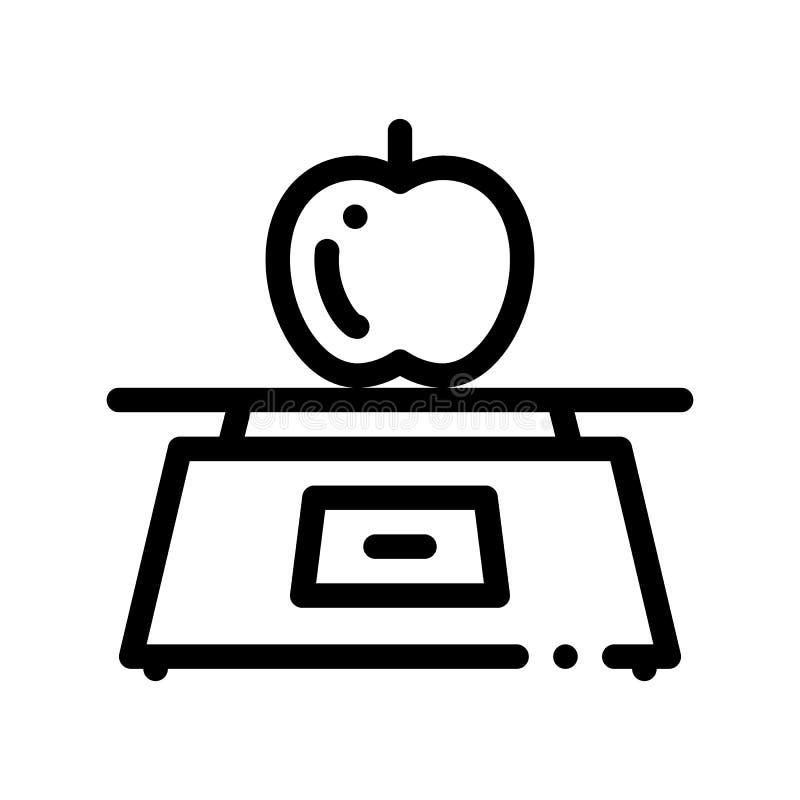 健康食品果子苹果计算机传染媒介稀薄的线象 向量例证