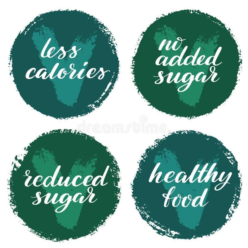 健康食品标号组 产品标签或贴纸 较少卡路里,没有加的糖,健康食品,减少的糖徽章集合 库存例证