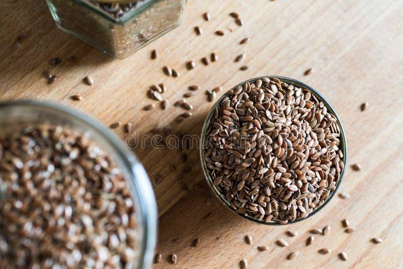 健康食品油麻亚麻五谷谷物 库存照片