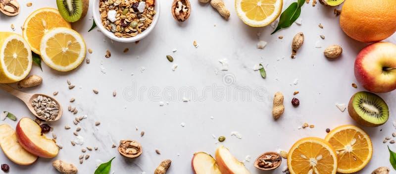 健康食品素食主义者营养概念,网站设计的水平的宽横幅 库存照片