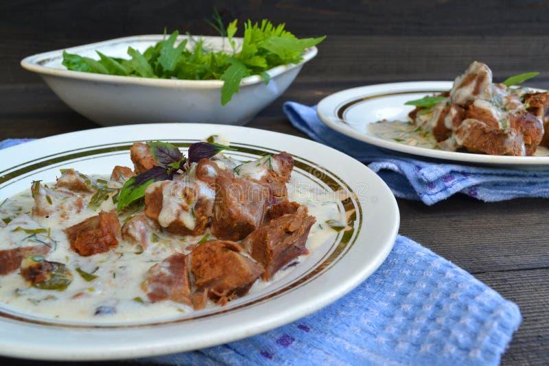 健康食品背景:俄国烹调,狍墩牛肉  免版税库存图片
