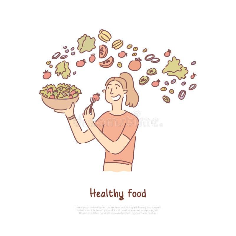 健康食品,吃菜沙拉、素食、维生素和营养富有的素食者横幅的妇女 库存例证