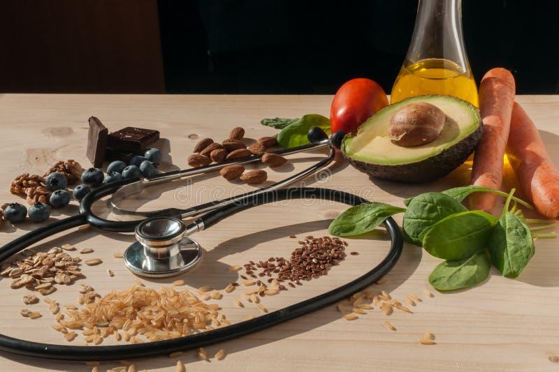 健康食物为防止心血管病 免版税库存图片