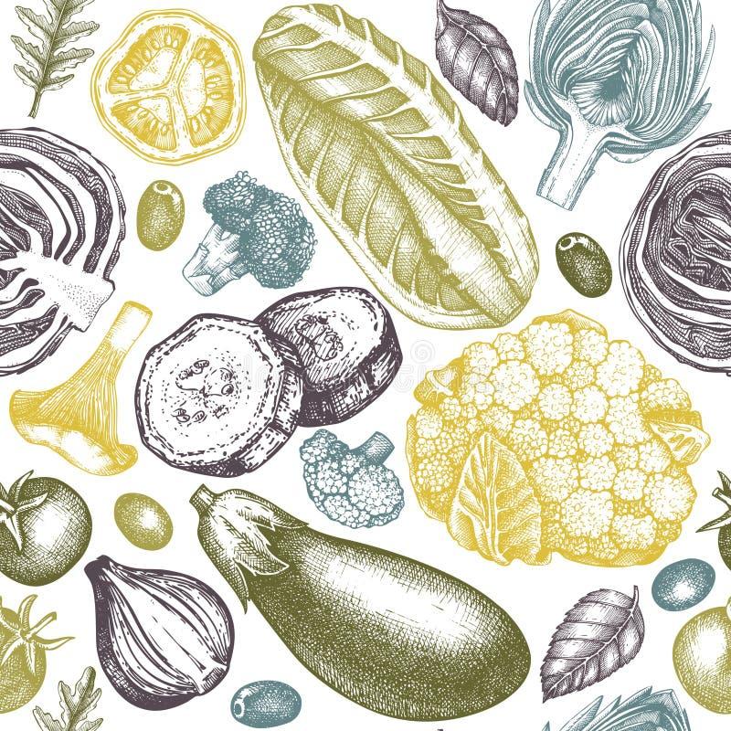 健康食物传染媒介背景 与手拉的菜、蘑菇和香料剪影的无缝的样式 农厂市场设计 向量例证
