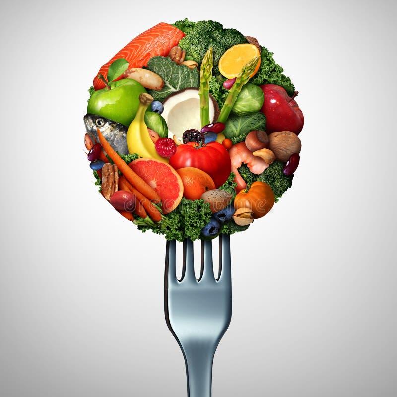 健康食物吃标志 向量例证
