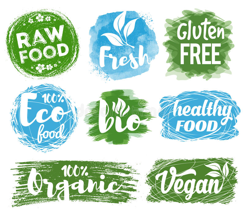 健康食物商标 向量例证