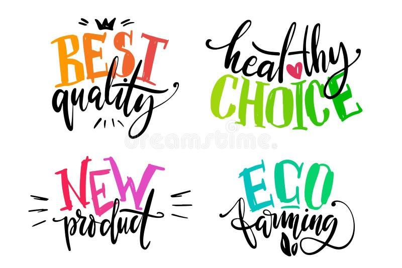 健康食物标号组 产品标签或贴纸 最佳的质量、健康选择、新种田词的产品和eco  皇族释放例证