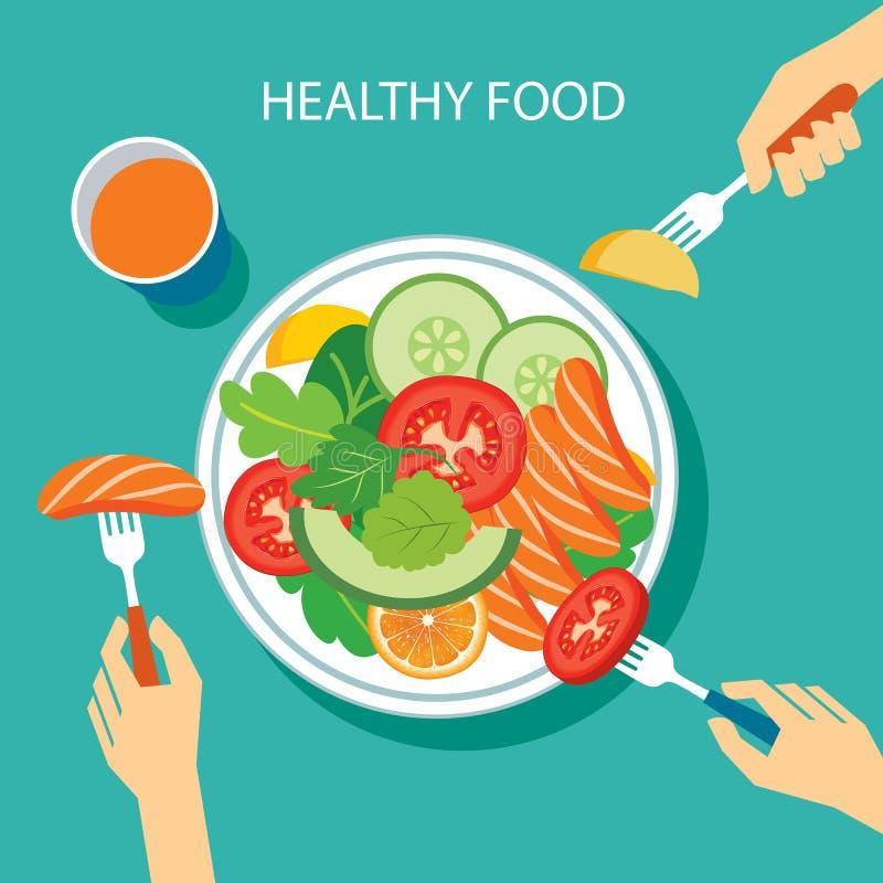 健康食物概念平的设计 皇族释放例证