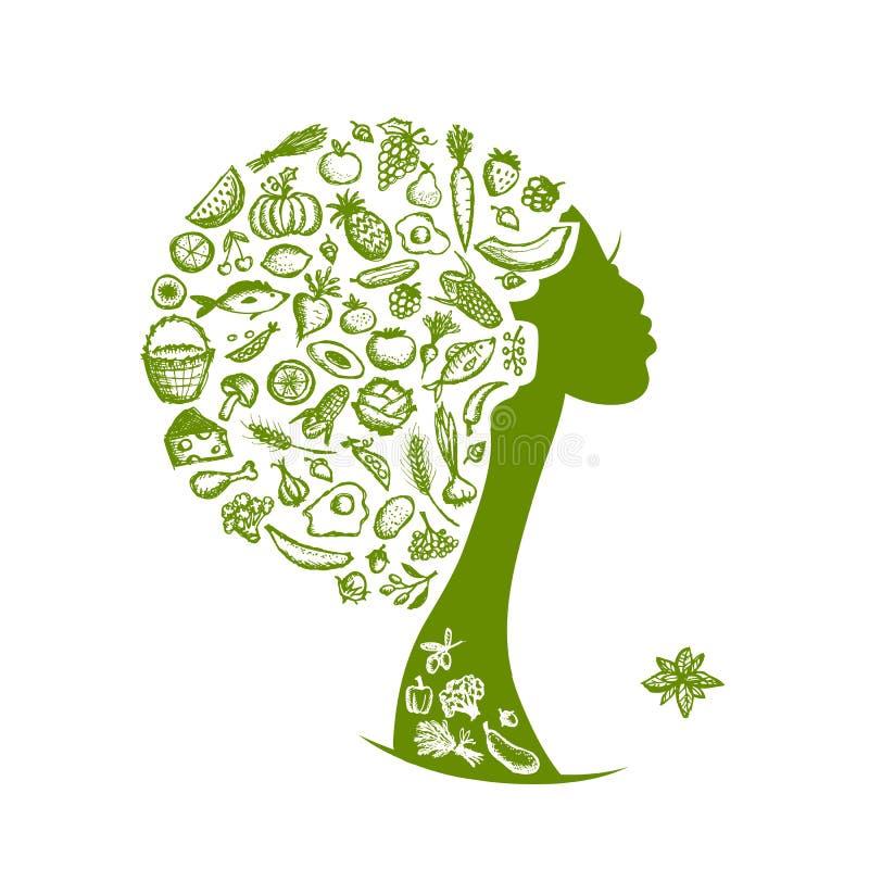 健康食物概念,有菜的女性头 库存例证