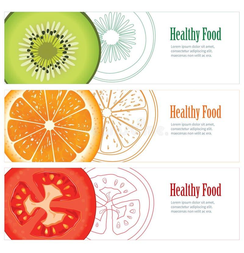 健康食物横幅 库存例证