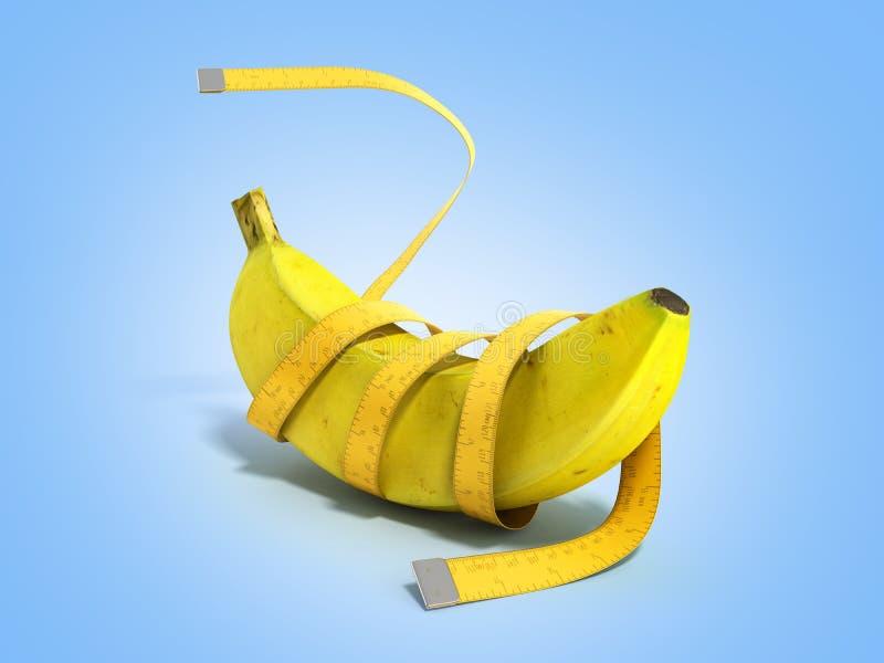 健康食物的3d概念在蓝色梯度回报 库存例证