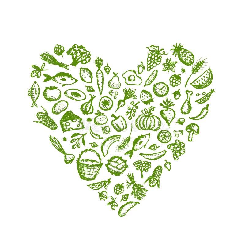 健康食物背景,心脏形状剪影为 向量例证